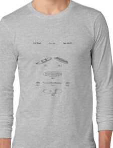 The Lego Patent Of Surfboard 6075 In Black Version Long Sleeve T-Shirt