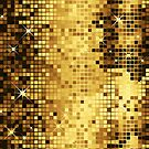 Gold Yellow Tones Retro Glitter Disco-Ball Mirrors Pattern by artonwear