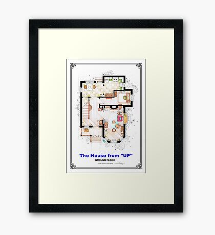 The House from UP - Ground Floor Floorplan Framed Print
