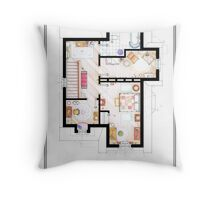 The House from UP - First Floor Floorplan Throw Pillow