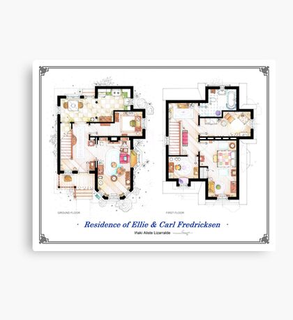 """Floorplan of the House from """"UP"""" Canvas Print"""