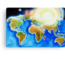 Sunshine Over the World Map Canvas Print