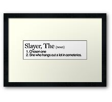 Slayer, The Definition (Black type) Framed Print
