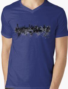 Kuwait City skyline in black watercolor Mens V-Neck T-Shirt