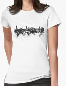 Kuwait City skyline in black watercolor Womens Fitted T-Shirt