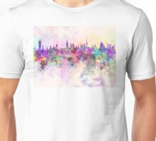 Kuwait City skyline in watercolor background Unisex T-Shirt