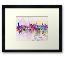Kuwait City skyline in watercolor background Framed Print