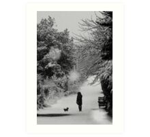 Dog walker in the snow (Eastbourne, 2013) Art Print