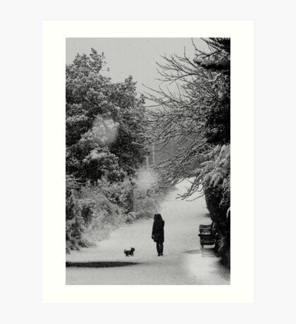 Dog walker in the snow (Eastbourne, 2013) Art Print