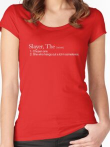 Slayer, The Definition (white type) Women's Fitted Scoop T-Shirt