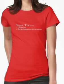 Slayer, The Definition (white type) Womens Fitted T-Shirt