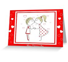 boy and girl Greeting Card