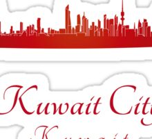 Kuwait City skyline in red Sticker