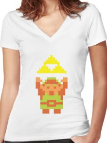 Pixel Link With A Triforce Women's Fitted V-Neck T-Shirt