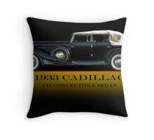 1933 Cadillac V16 Convertible Sedan w/ID Throw Pillow