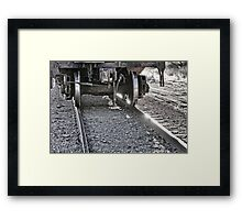 Railroad Train Car Wheels Hitting the Tracks Framed Print