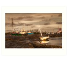 Boats waiting for the tide Art Print