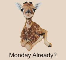 cute baby giraffe Monday Already? tee   by Tia Knight