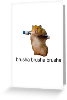 cute baby hamster brush your teeth - brusha brusha  by Tia Knight