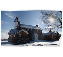 FOrt Gratiot Light house in winter Poster