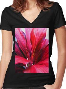 Ti Leaf Series #3 Women's Fitted V-Neck T-Shirt