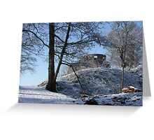 Dinefwr Castle Turret in snow-01 Greeting Card