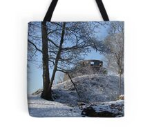 Dinefwr Castle Turret in snow-01 Tote Bag