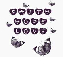 Faith, Hope, Love Butterflies and Hearts Baby Tee