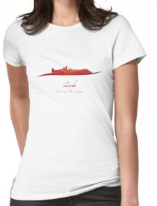 Leeds skyline in red Womens Fitted T-Shirt