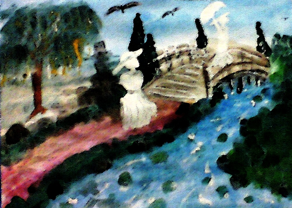 The Japanese Bridge is special, watercolor by Anna  Lewis, blind artist