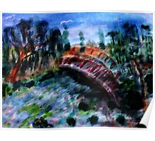 My version #5 of the Japanese Bridge,a Monet, watercolor Poster
