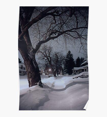 Midnight Snow On High Street Poster