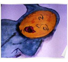 Baby boy yawning in his sleep, watercolor Poster