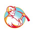 Coal Miner With Pick Axe Looking Up Retro by retrovectors