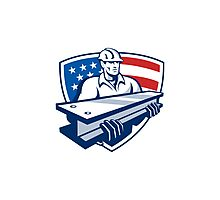 Construction Steel Worker I-Beam American Flag Photographic Print