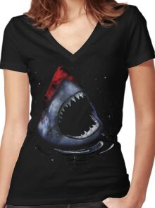 12th Doctor Who Star/Space Shark T-Shirt Ver. 2 Women's Fitted V-Neck T-Shirt