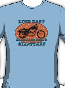 Live Fast Deadmans Curve All Stars Motorcycle T-Shirt