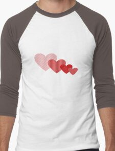 Patchwork Hearts Men's Baseball ¾ T-Shirt