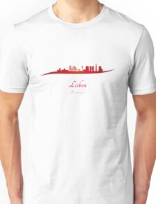 Lisbon skyline in red Unisex T-Shirt