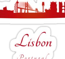 Lisbon skyline in red Sticker