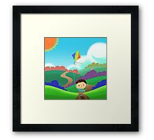 A Kid is Running and Flying a Kite in the Colorful Field. Framed Print