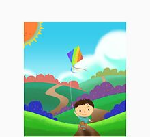 A Kid is Running and Flying a Kite in the Colorful Field. Unisex T-Shirt
