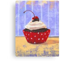 Red Cherry Cupcake Canvas Print