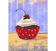 Red Cherry Cupcake Photographic Print