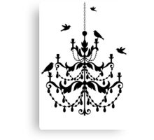 Vintage chandelier with birds Canvas Print