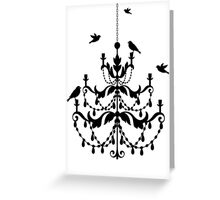 Vintage chandelier with birds Greeting Card