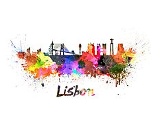 Lisbon skyline in watercolor Photographic Print