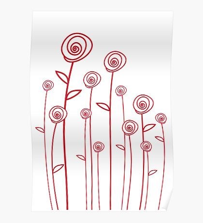 abstract red roses Poster