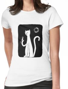 Cat & Mouse - Black Womens Fitted T-Shirt