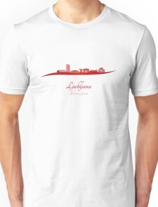 Ljubljana skyline in red Unisex T-Shirt
